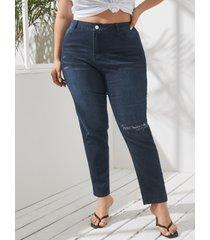 yoins plus botón de bolsillos laterales de tamaño diseño denim rasgado al azar pantalones