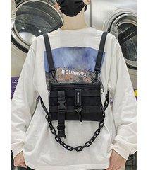 mochila lisa con cremallera frontal para hombre