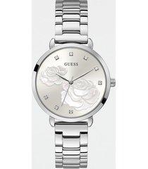 analogowy zegarek z motywem kwiatowym