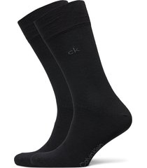 ck men crew 2p casual flat knit cot underwear socks regular socks svart calvin klein