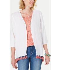 style & co cotton tassel-trim kimono top, created for macy's