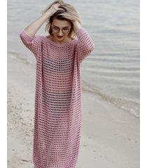 sukienka ażurowa różowa
