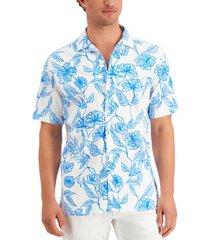 alfani men's regular-fit stretch floral-print camp shirt, created for macy's