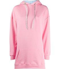 chiara ferragni logo debossed longline hoodie - pink