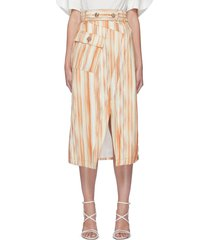 'worlds collide' belted chevron stripe patch pocket skirt