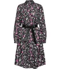 silk orchid print dress knälång klänning svart karl lagerfeld