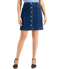 style & co button-fly denim skirt, created for macy's