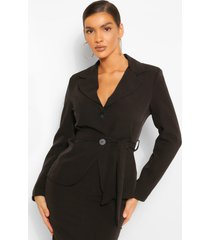 tailored tie waist blazer, black