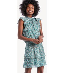 1.state women's woodland floral high neck tiered dress in color: veridemrldmul size xs from sole society