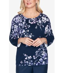 alfred dunner women's plus size wisteria lane asymmetric floral print sweater