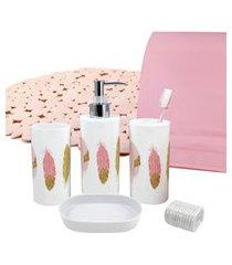 kit de banheiro completo de 7 peças jacki design cozy rosa