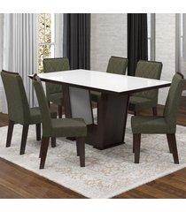 mesa de jantar 6 lugares condessa nogueira/camurça/branco - viero móveis