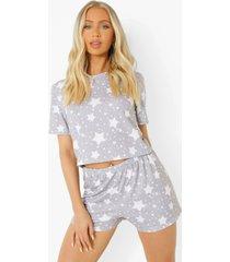 sterrenprint pyjama set met t-shirt en shorts, grey marl