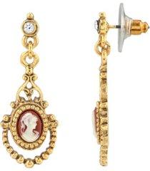 downton abbey 14k gold-dipped carnelian cameo drop earring