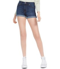 celebrity pink juniors' high-waist cuffed jean shorts