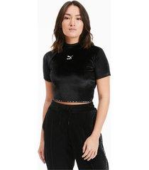high neck velour t-shirt, zwart, maat m | puma