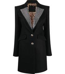 philipp plein rhinestone-embellished midi coat - black