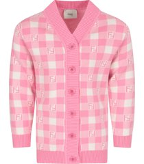 fendi pink and ivory cardigan with double ff for girl