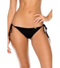 women's luli fama side tie brazilian bikini bottoms, size large - black
