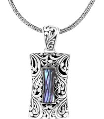 "bali heritage signature carving paua sterling silver pendant necklace 18"" length"