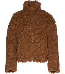 eckhaus latta yeti fleece jacket - brown