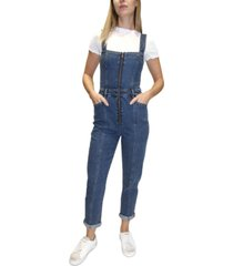 almost famous juniors' zippered skinny overalls