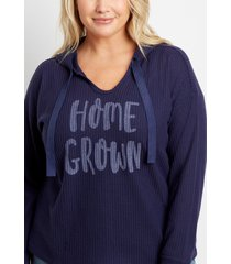 maurices plus size womens navy homegrown waffle knit hoodie blue