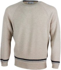 brunello cucinelli cashmere crewneck sweater with contrasting color stripes at the bottom and cuffs