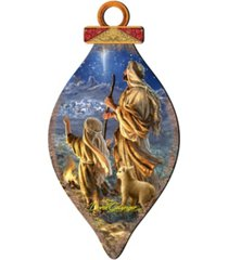 designocracy by dona gelsinger shepherds keeping watch ornament and cone ornament, set of 2 each