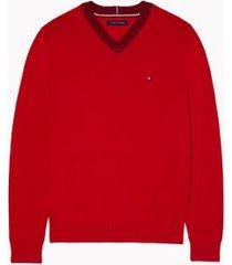 tommy hilfiger men's essential v-neck sweater apple red - xxxl