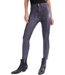 7 for all mankind women's high-waisted skinny ankle jeans - black glitter - size 29 (6-8)