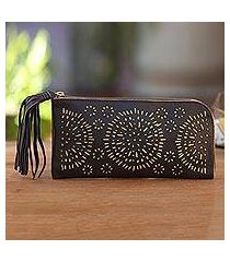 leather clutch, 'borobudur stars in coffee' (indonesia)