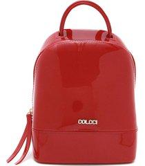 mochila colcci verniz vermelha