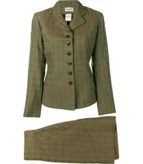 alaïa pre-owned skirt and jacket suit - green