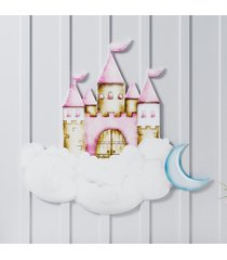 adesivo de parede castelo 57cm grã£o de gente rosa - rosa - menina - dafiti