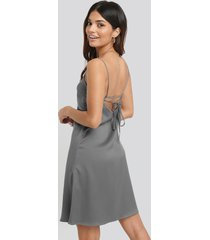 na-kd party back strap detail satin dress - silver