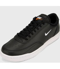 tenis lifestyle negro-blanco nike court vintage