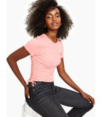 bar iii drawstring-ruched t-shirt, created for macy's