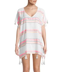 surf gypsy women's striped tassel coverup - sunrise - size m