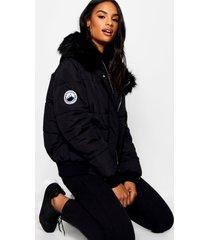 tall gewatteerde korte contrasterende faux fur jas, zwart