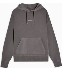 mens washed charcoal grey berlin hoodie