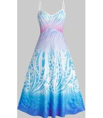 plus size print backless maxi cami dress