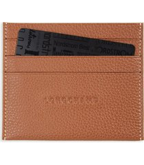 women's longchamp 'le foulonne' pebbled leather card holder - brown