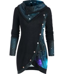 cowl neck galaxy print panel tunic sweater