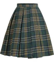plaid knee length a line skirt