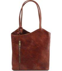 tuscany leather tl141497 patty - borsa donna in pelle convertibile a zaino marrone