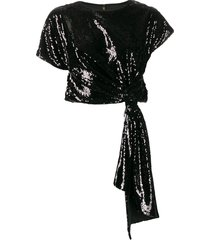 alice mccall orchid sequinned cropped t-shirt - black