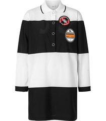burberry striped logo polo shirt dress - black