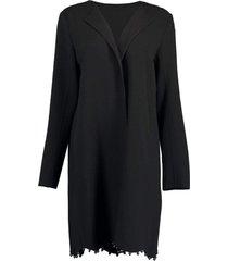 black collarless coat