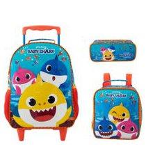 kit mochila infantil com rodinhas baby shark com lancheira e estojo duplo